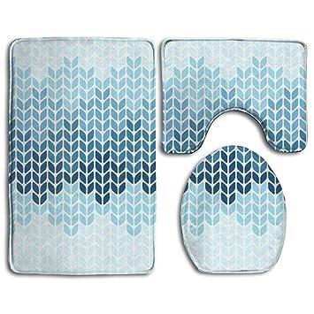 Brilliant Amazon Com Happybeth Bathroom Rug Mats Set 3 Piece Blue Gamerscity Chair Design For Home Gamerscityorg