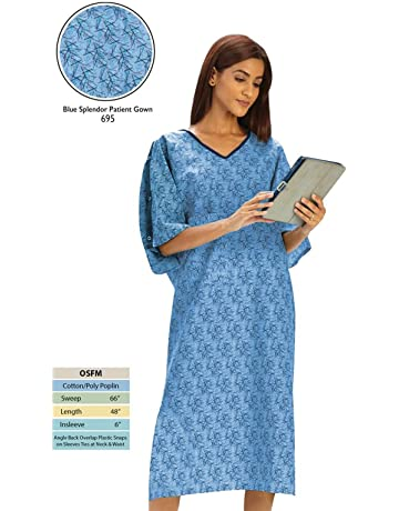 018f652770 Personal Touch Unisex Hospital Patient Gown Plastic Snap IV Sleeves with  Telemetry Pocket - Blue Splendor
