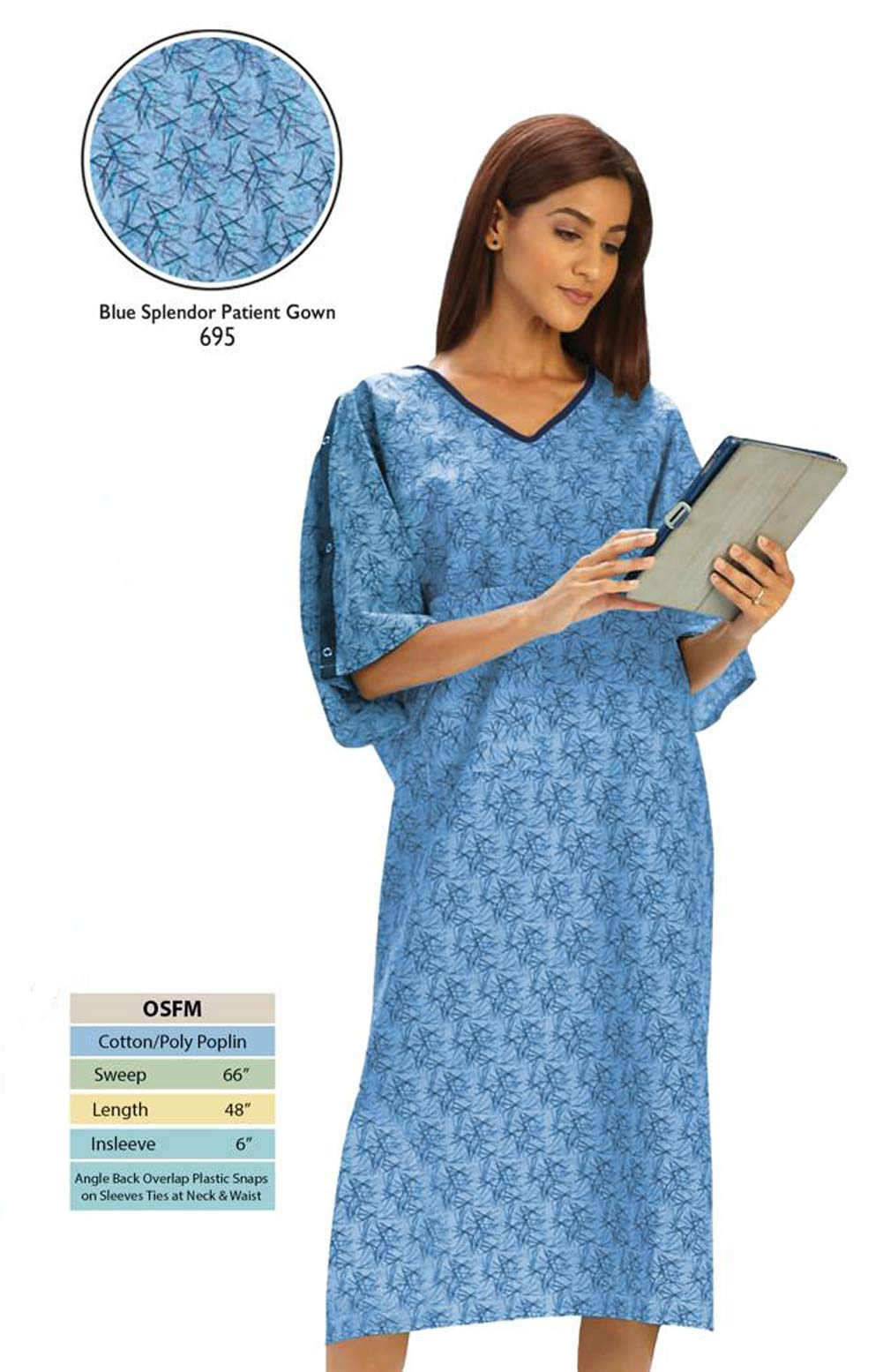 Personal Touch Unisex Hospital Patient Gown Plastic Snap IV Sleeves with Telemetry Pocket - Blue Splendor Print - One Size Pack of 4