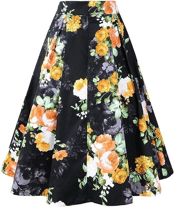 Faldas para Mujer Estilo Años 50 Falda Vintage Floral Tamaños ...