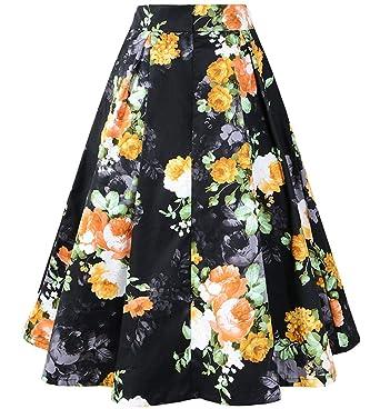 Faldas para Mujer Estilo Rockabilly Floral 50 Falda Vintage Años ...