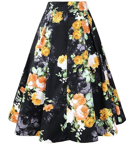 Faldas para Mujer Estilo Años 50 Falda Vintage Floral Rockabilly ...