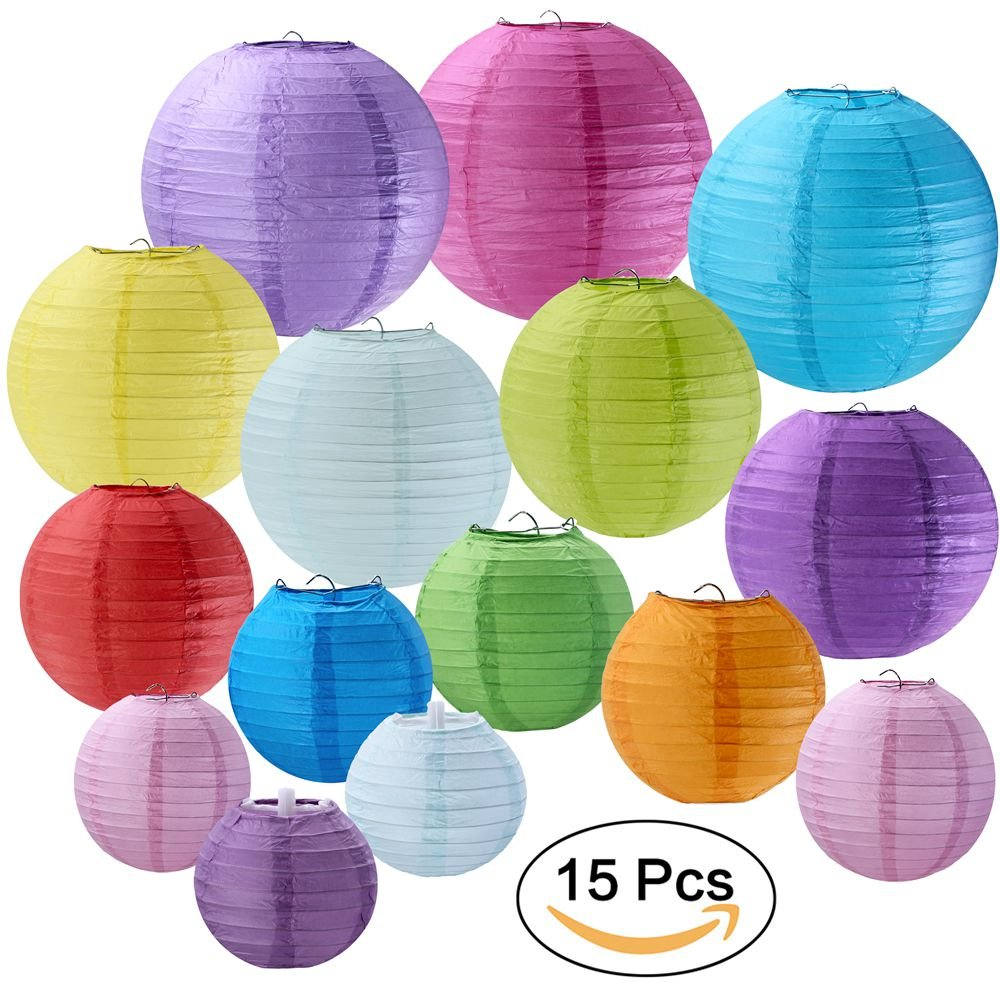 "Supla 15 Pack Colorful Round Paper Lanterns Chinese Paper Lantern 4"" 6"" 8"" 10"" 12"" Wedding Party Decorations"