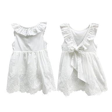 072aa02ca5f7 Abalaco Girl Cotton Backless Breathable Sleeveless Tutu Daily Wear Princess  Dress, White, (1