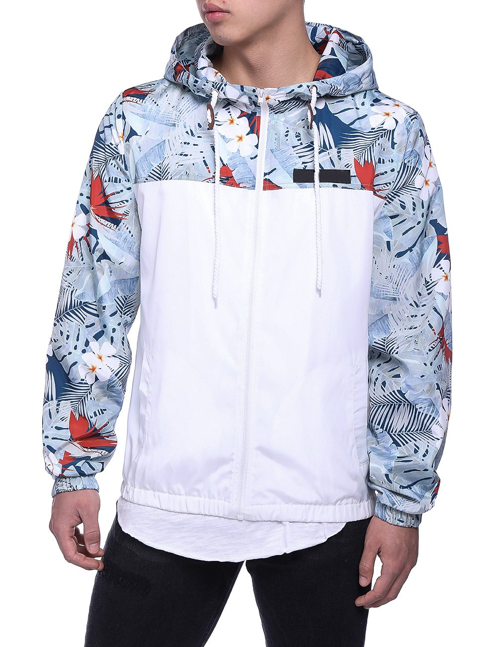HEQU Men's Floral Hooded Windbreaker Lightweight Zip-up Jacket with Pocket White 2XL