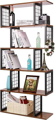 5-Tier Shelf Bookcase S-Shaped Z-Shelf Style Bookshelf Bookcase Room Divider Display Shelf Free Standing Display Storage Shelves