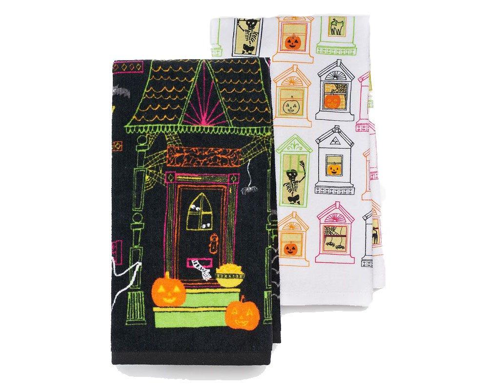 Halloween Haunted House Windows 2-pc. Kitchen Towel Set (White)