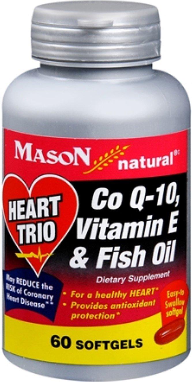 Mason Natural Heart Trio Co Q-10, Vitamin E and Fish Oil Softgels 60 Soft Gels (Pack of 12)