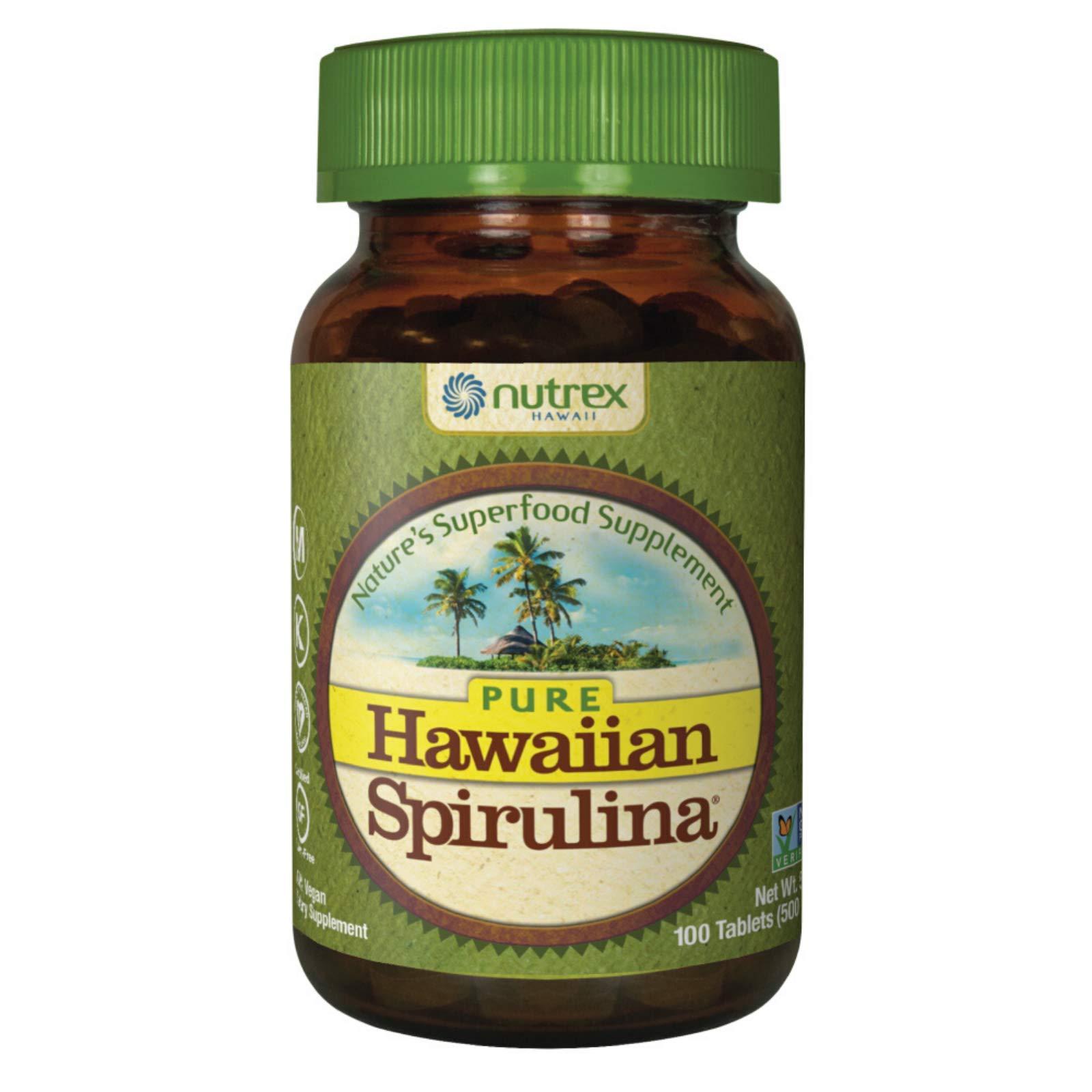 Pure Hawaiian Spirulina-500 mg Tablets 100 Count - Natural Premium Spirulina from Hawaii - Vegan, Non-GMO, Non-Irradiated - Superfood Supplement & Natural Multivitamin