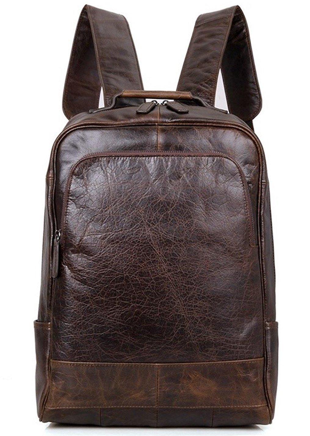 Clean Vintage Men's Fashion Leather Backpack- Fits 15'' Laptops - Slim Design Italian Leather College Business Rucksacks for Men (Dark Brown)