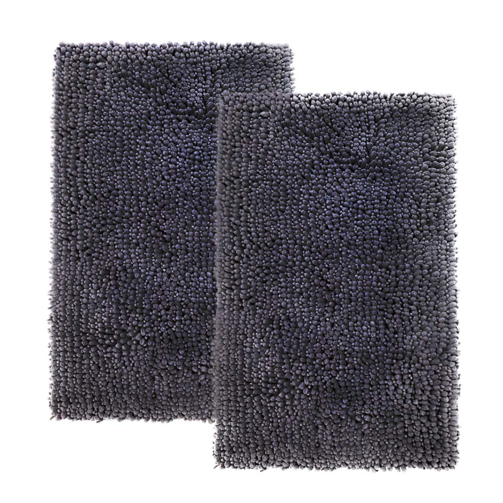 Comfy Soft Non Slip Bath Rugs Mats Set of 2,Soft and Plush Luxury Microfiber Chenille Shag, Bathroom Rugs Mats Carpets, Machine Washable, High Absorbent Water for Kids 31x20 Dark Gray