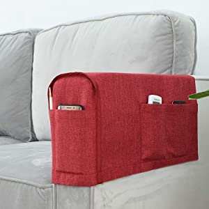 Joywell Linen Armrest Covers for Living Room Anti-Slip Sofa Arm Protector for Dogs, Cats, Pets Armchair Slipcover for Recliner with 4 Pockets for TV Remote Control, Phone, Set of 2 (Burgundy)