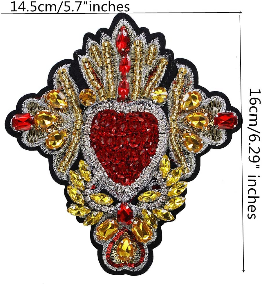 White Gold Sequin Heart Patch Girl Valentine Badge Gift Jeans Applique
