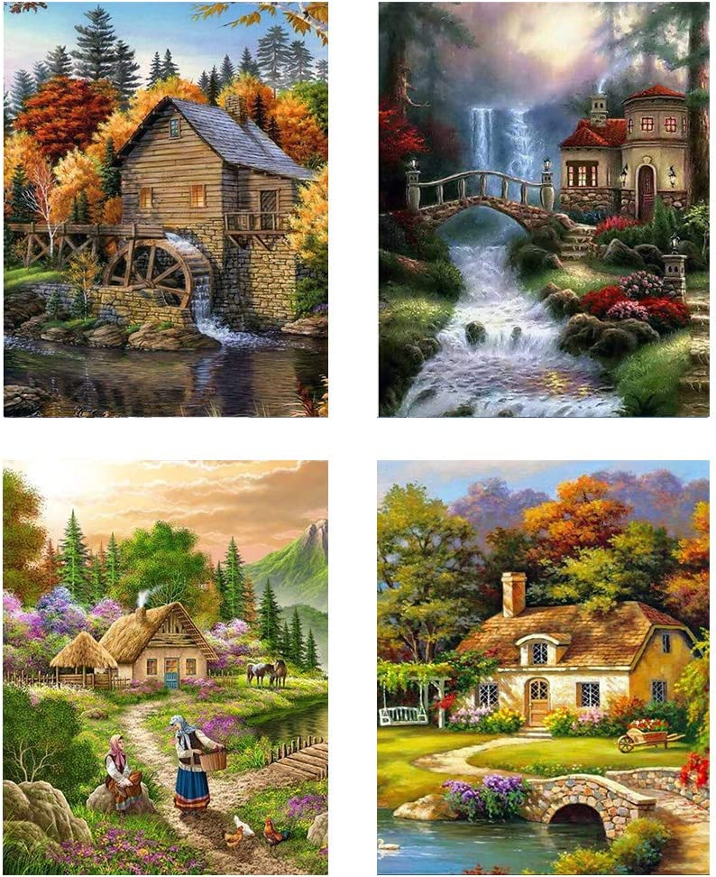 12 X 16 Inch 4 Pack 5D Full Drill Diamond Painting Kit Owls Dogs Cardinals Cats Rhinestone Embroidery Paintings Pictures Arts Craft for Home Wall Decor
