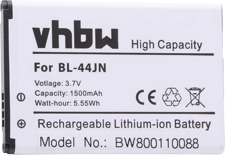 vhbw Li-Ion batería 1500mAh (3.7V) para Smartphone, teléfono móvil LG AS680, AS855, AS860 Ignite, C660 Pro por BL-44JN, 1ICP5/44/65.: Amazon.es: Electrónica