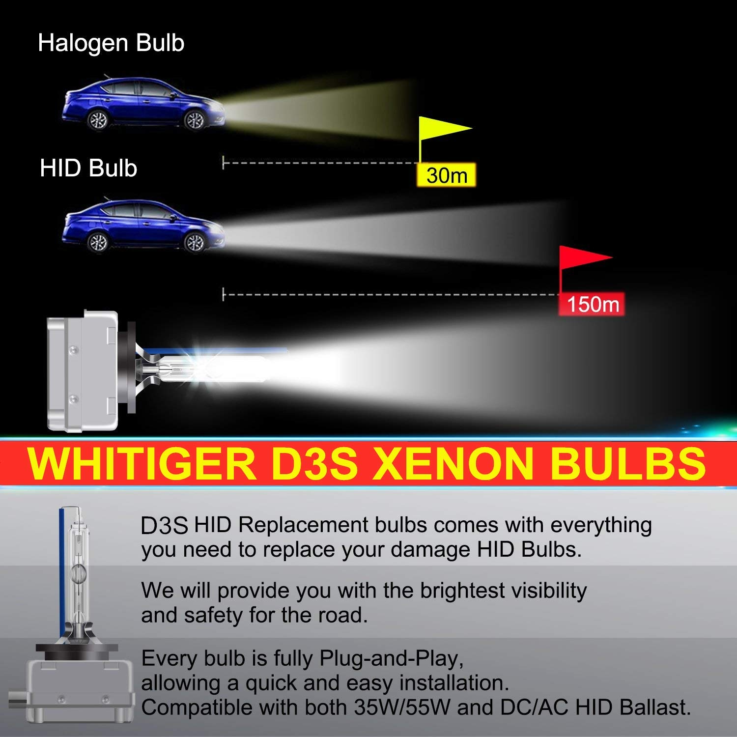 Pack of 2 35W 6000K 12V Diamond White OEM Replace for Halogen or LED Exterior Headlamp Bulbs Whitiger Car HID D4S Xenon Headlight Bulbs
