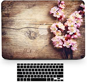 Bizcustom MacBook Pro 15 DVD Wood Grain Pink Cherry Blossom Flower Floral Paint Hard Rubberized Shell Clear Bottom Case Keyboard Cover for MacBook Pro 15 with CD-ROM Model A1286, None Retina
