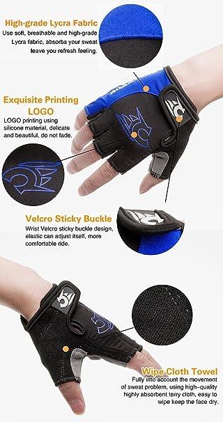 hoaey Verano guantes de ciclismo guantes de bicicleta de montaña de carretera guantes de ciclismo luz silicona Gel Pad medio dedo guantes de ciclismo ...