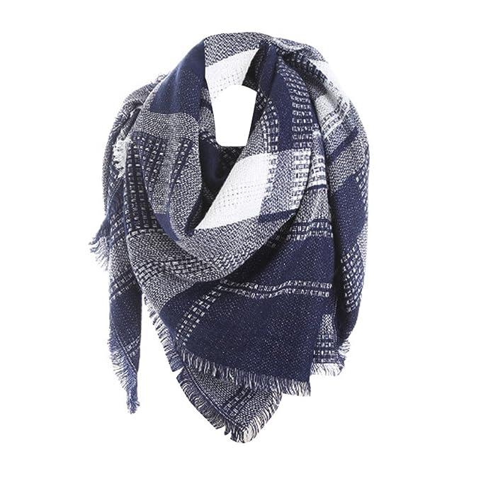 78d788c337e139 OYSOHE Damen Schal Plaid Stitch Cashmere Wolle Lange Schal Plaid  Halstuch(Blau,One size): Amazon.de: Bekleidung