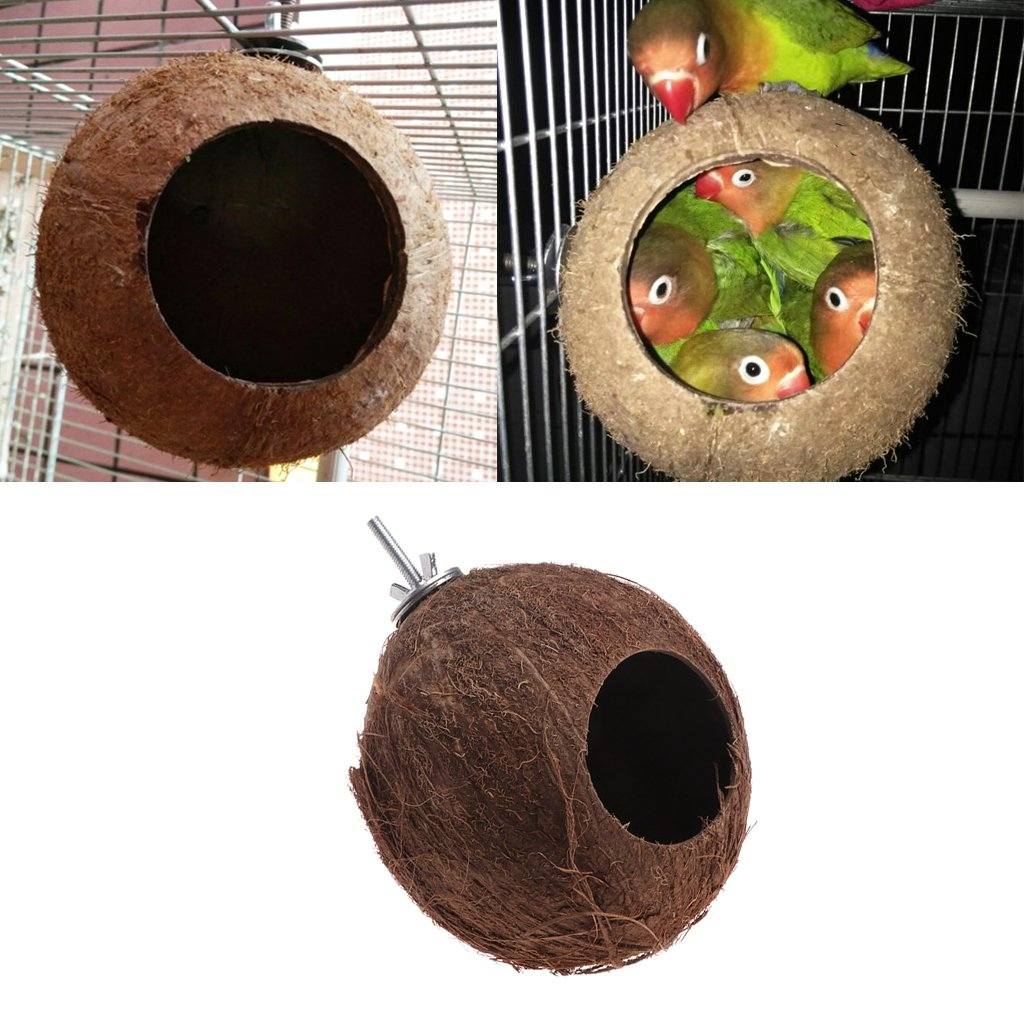 Lunji-Nest Vogel Natur Coconut Shell für Wellensittich Budgerigar