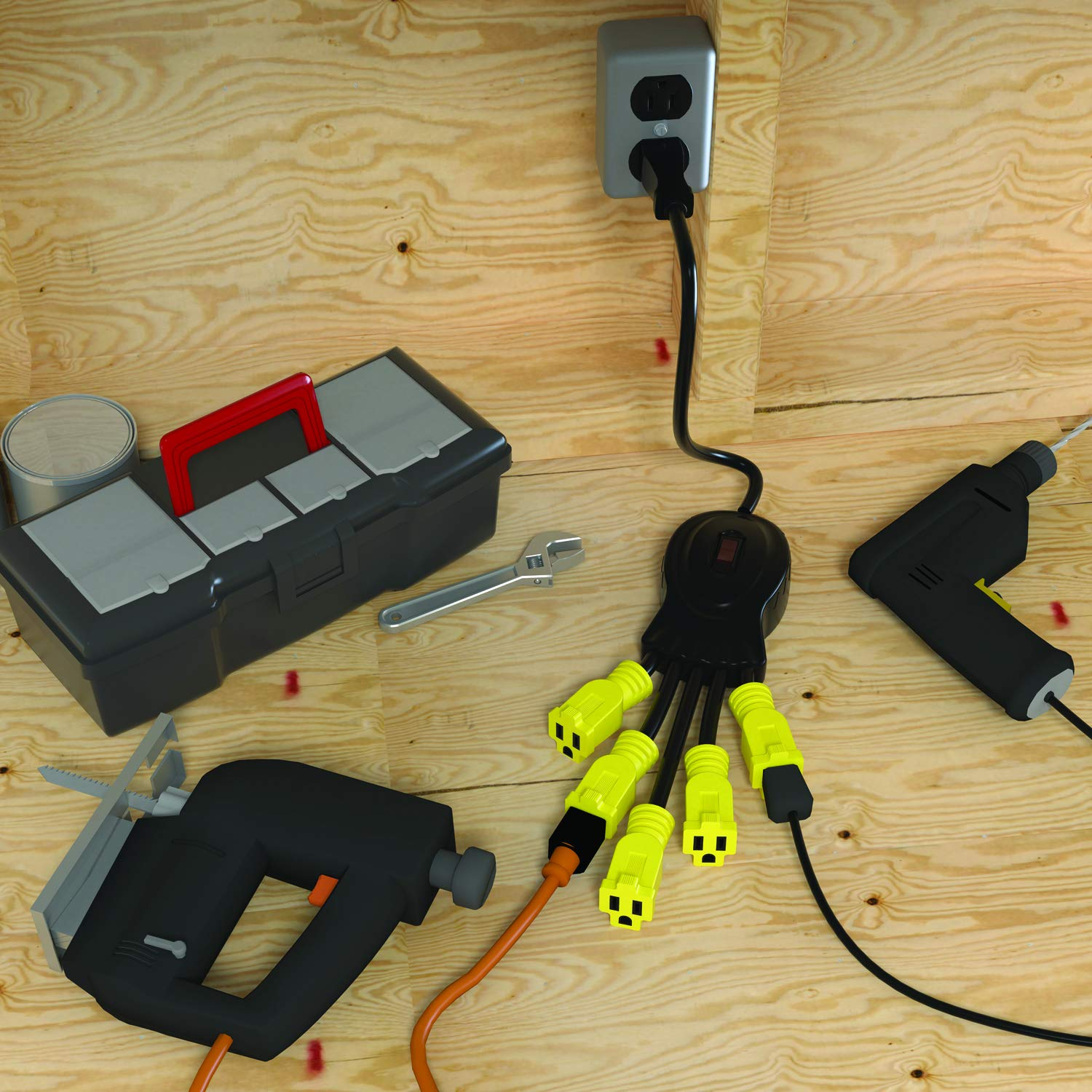 Stanley 31497 Power Squid Mini Multiplier, Black/Yellow, 1-Pack - Power Strips And Multi Outlets - Amazon.com