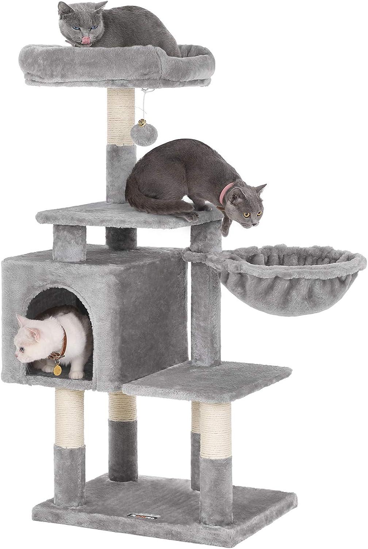 FEANDREA Árbol para Gatos de Varios Niveles, Torre de 110 cm, Gris Claro PCT52W: Amazon.es: Productos para mascotas