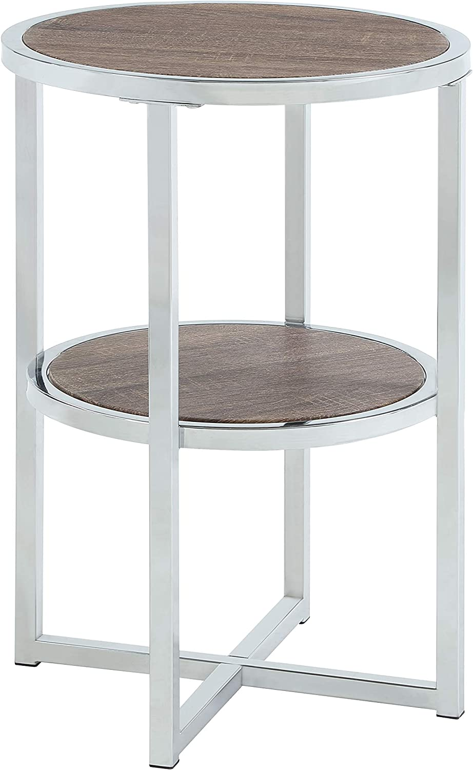 Abington Lane - Contemporary Round End Table - Employs a Fashionable Chrome Frame - Two Tiered for Storage - Perfect for Living Room or Office - (Brown Finish)