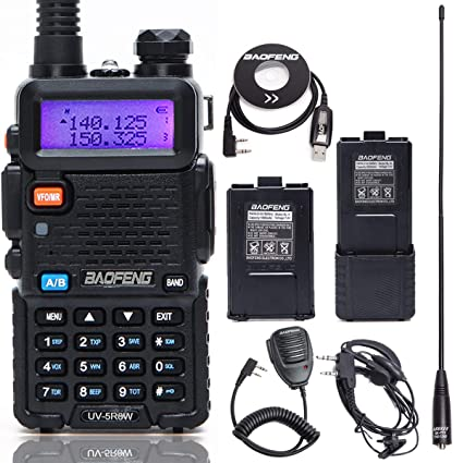 Dual Band 128 Channels with 3800mah Battery and Earpiece-Black Global BAOFENG UV-5R Two-Way Radio Walkie Talkies