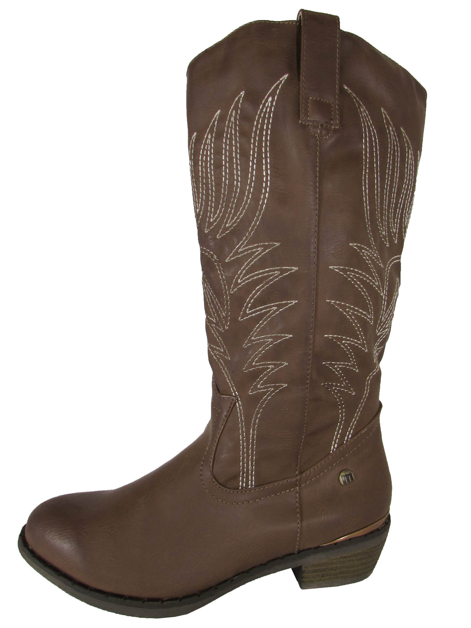 MTNG Mustang Womens 56143 Mid Calf Cowgirl Boots, Taupe, 41 EU / 9.5-10 US