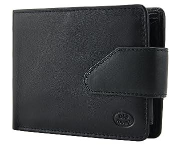 1d1bd8824bcb1 Herren Geldbörse Geldbeutel Brieftasche Portemonnaie Geldtasche Kartenetui  - Echtes Echt Leder (Schwarz)