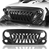 Hooke Road Shark Grill Matte Black Front Grille Grid Compatible with Jeep Wrangler JK 2007-2018 Rubicon Sahara Sport Unlimite