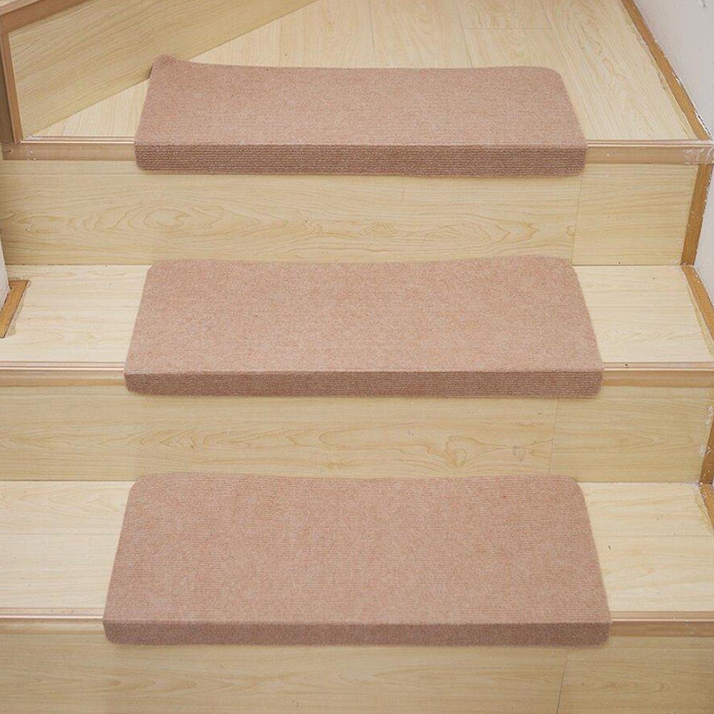 Luminoso ricamato scalini antiscivolo Staircase Mat Treads decorativo stair passatoia area Rugs for home (2 pezzo), Poliestere, Solid Beige, 27.6 x 8.7 x 1.8 LD