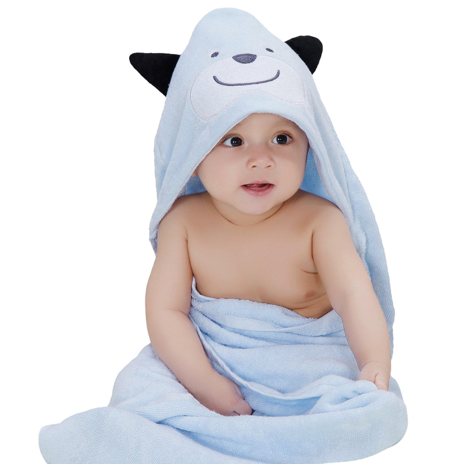 Biubee Extra Soft and Thick Baby Organic Hooded Towel -- Antibacterial and Hypoallergenic Bamboo Bath Towel for Infant and Toddler (blue dog)
