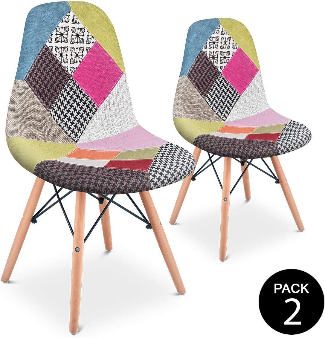 Mc Haus SENA Patchwork - Pack 2 Sillas comedor vintage patchwork tower multicolor rosa diseño tapizado sillas salon estilo retro diseño tower 49x46x84cm
