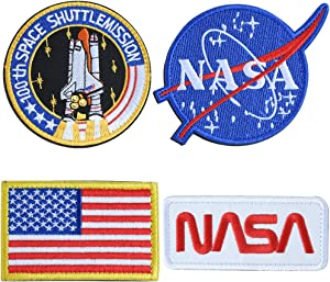NASA Tactical Flag Embroidered Patch, US Flag Patch Combination, USA NASA Fabric Patch Morale Lot Military Patches (4 Pcs)