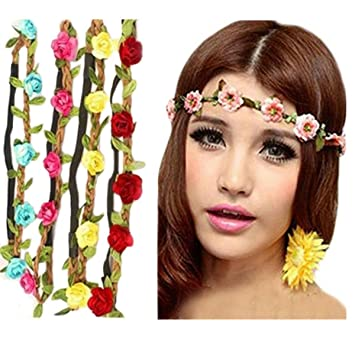 Frcolor Boho Style Women s Flower Crown Festival Wedding Hair Wreath  Garland Floral Headband Hairband Pack of 6bf38b7d514