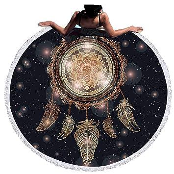 Sticker Superb Toalla de Playa Microfibra Redonda,Universo Cielo Estrellado Tortuga Pluma Esterilla de Yoga