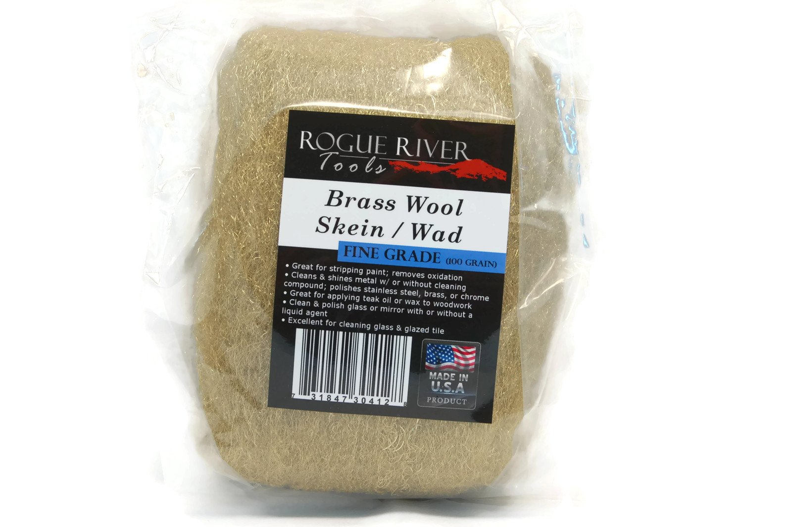 Brass Wool- Skein Pad Wad (Fine Grade, 100 Gr.) by Rogue River Tools