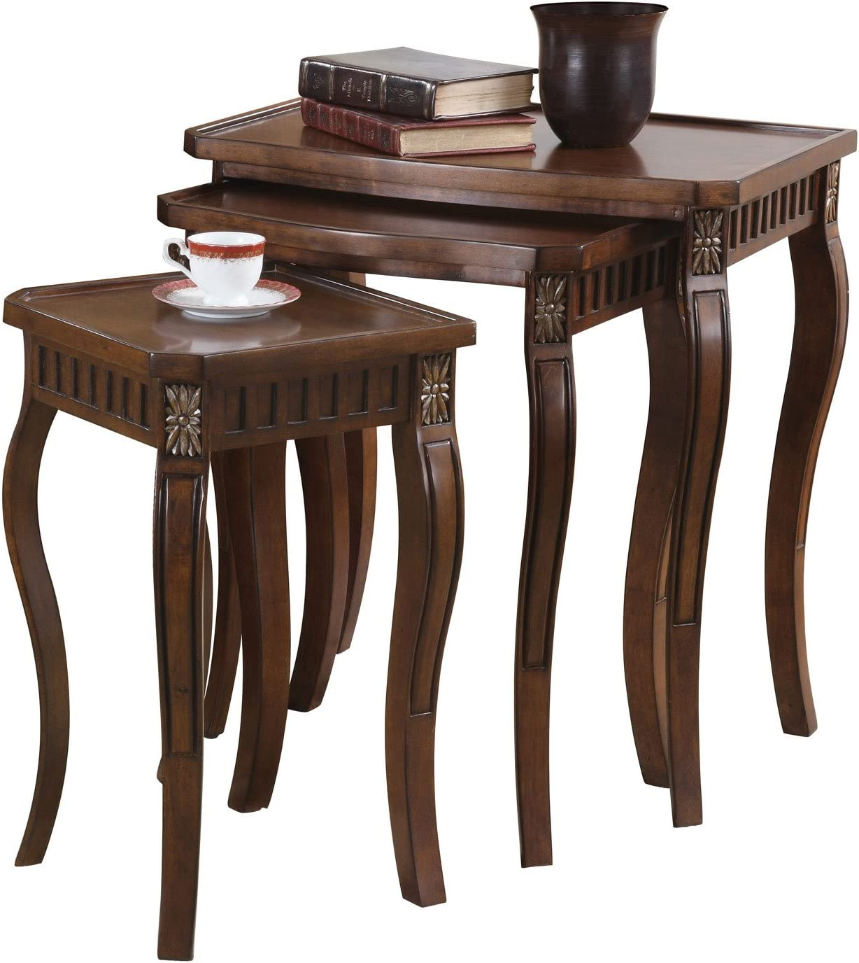 3-piece Curved Leg Nesting Tables Warm Brown: Furniture & Decor