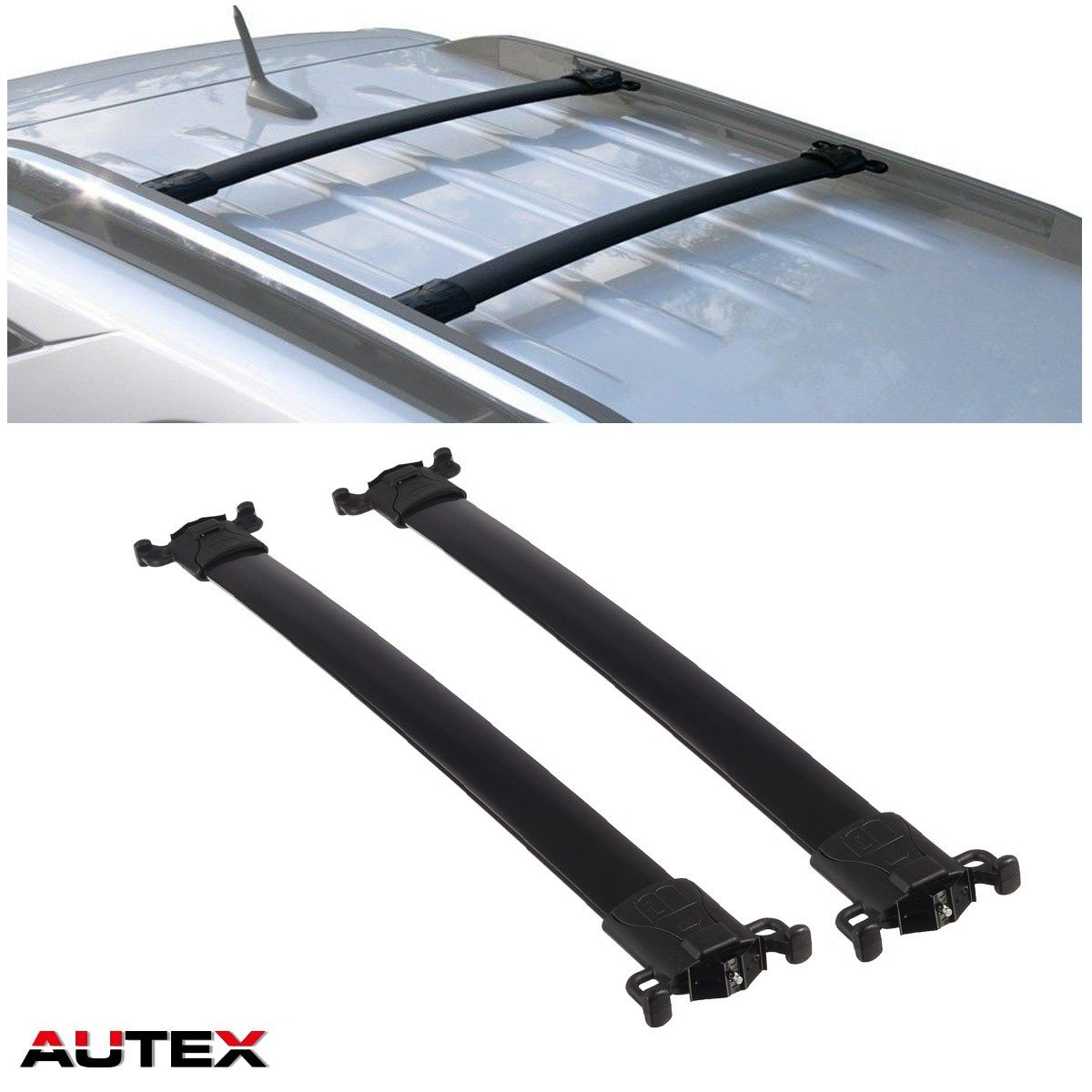 AUTEX Aluminum Roof Rack Crossbars Luggage Carrier Rail Rack Compatible with 2010 2011 2012 2013 2014 2015 2016 2017 Chevrolet Equinox GMC Terrain Cross Bars Rack Roof Top Cargo Carrier Bars