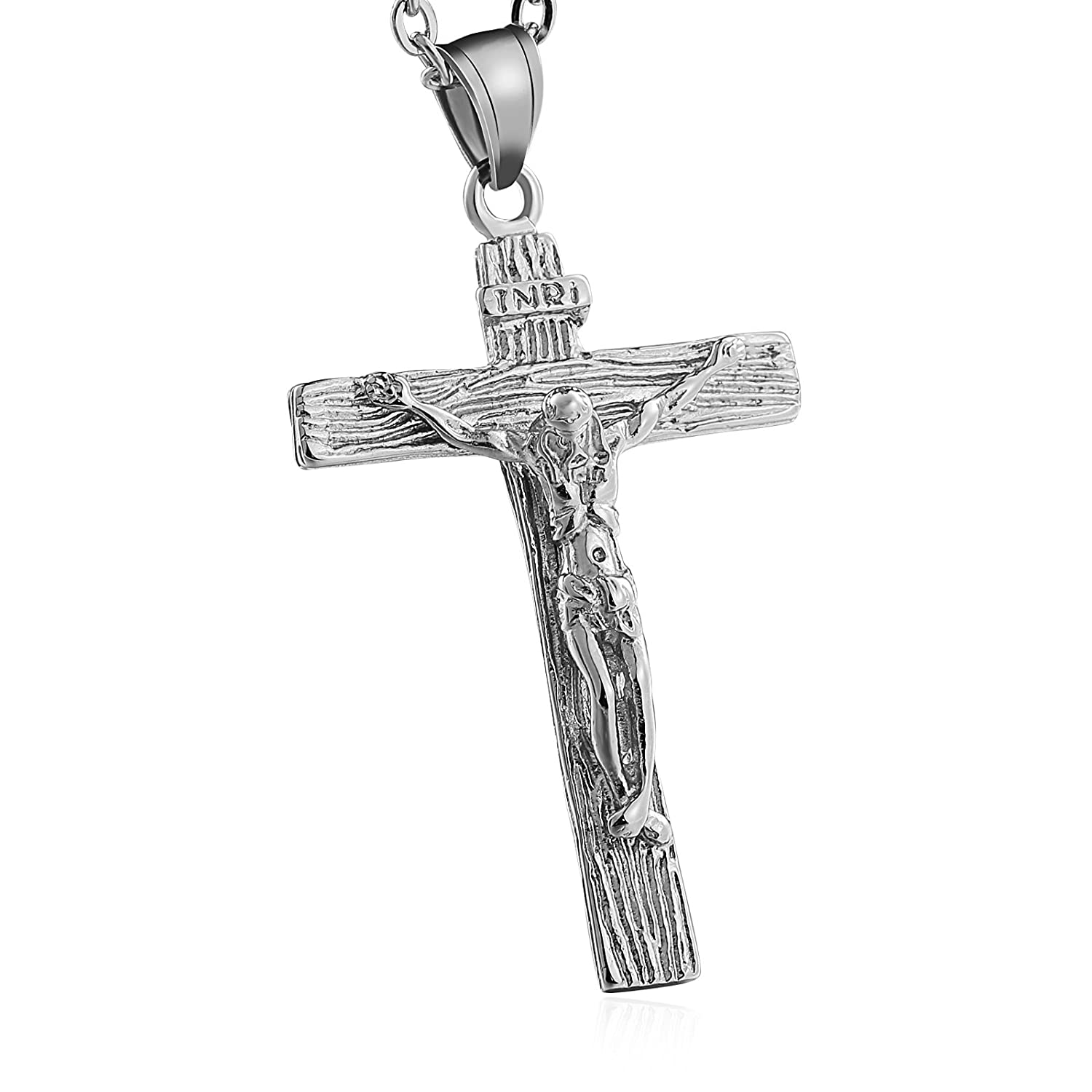 Aokarry Men Women Stainless Steel Pendant Necklace Crucifixion of Jesus