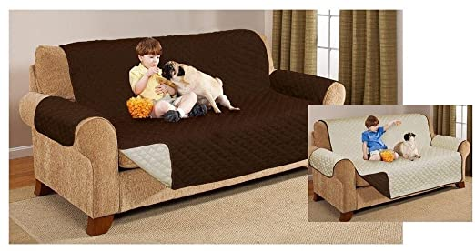 Funda protectora reversible acolchada para sofá dos o tres plazas, chocolate, SOFA COVER IMPORTANTE: medida de Asiento 160cm ideal 2/3 plazas