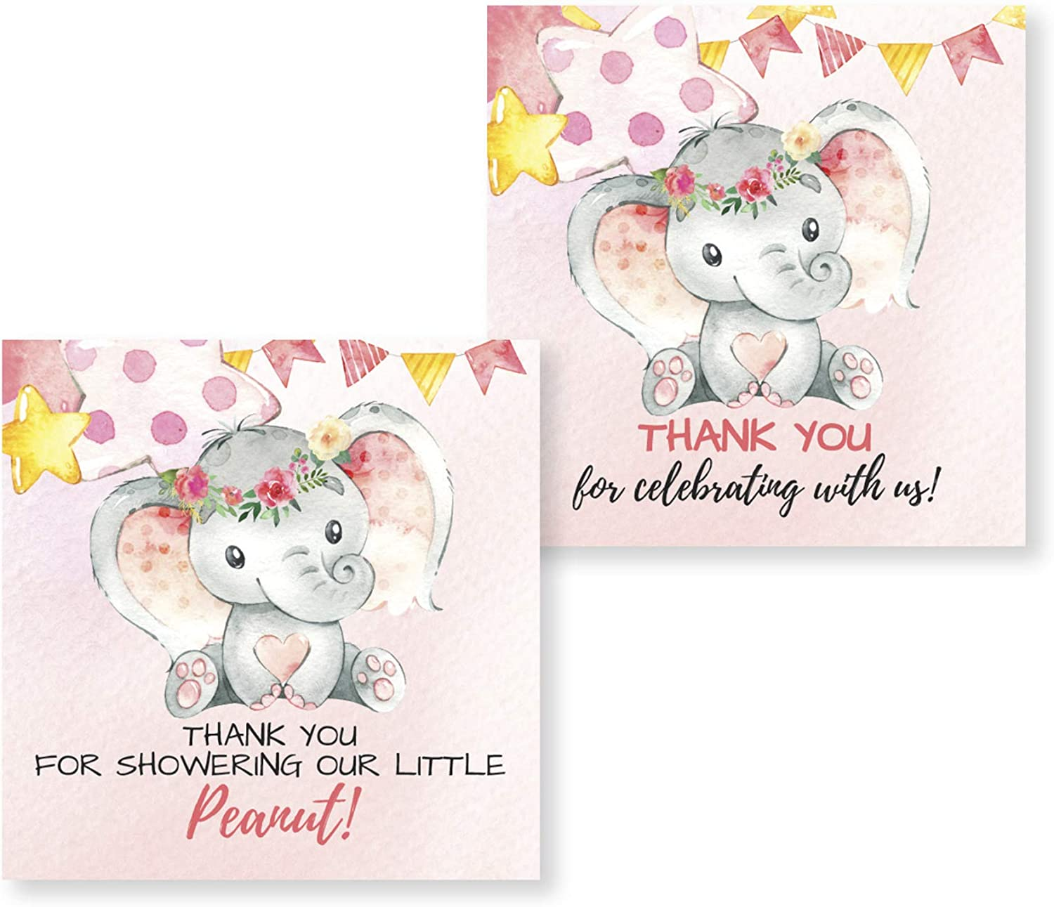 50-2 Inch Thank You Baby Shower or Gender Reveal Elephant Stickers Pink & Gray Perfect for Thank You Card Envelopes, Party Favors Supplies Decorations
