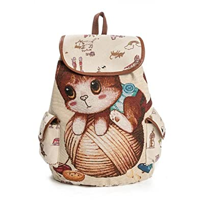 Cartoon Cat Printed Backpack Women Large Capacity Drawstring School Bag For Teenager Canvas Lady Rucksack