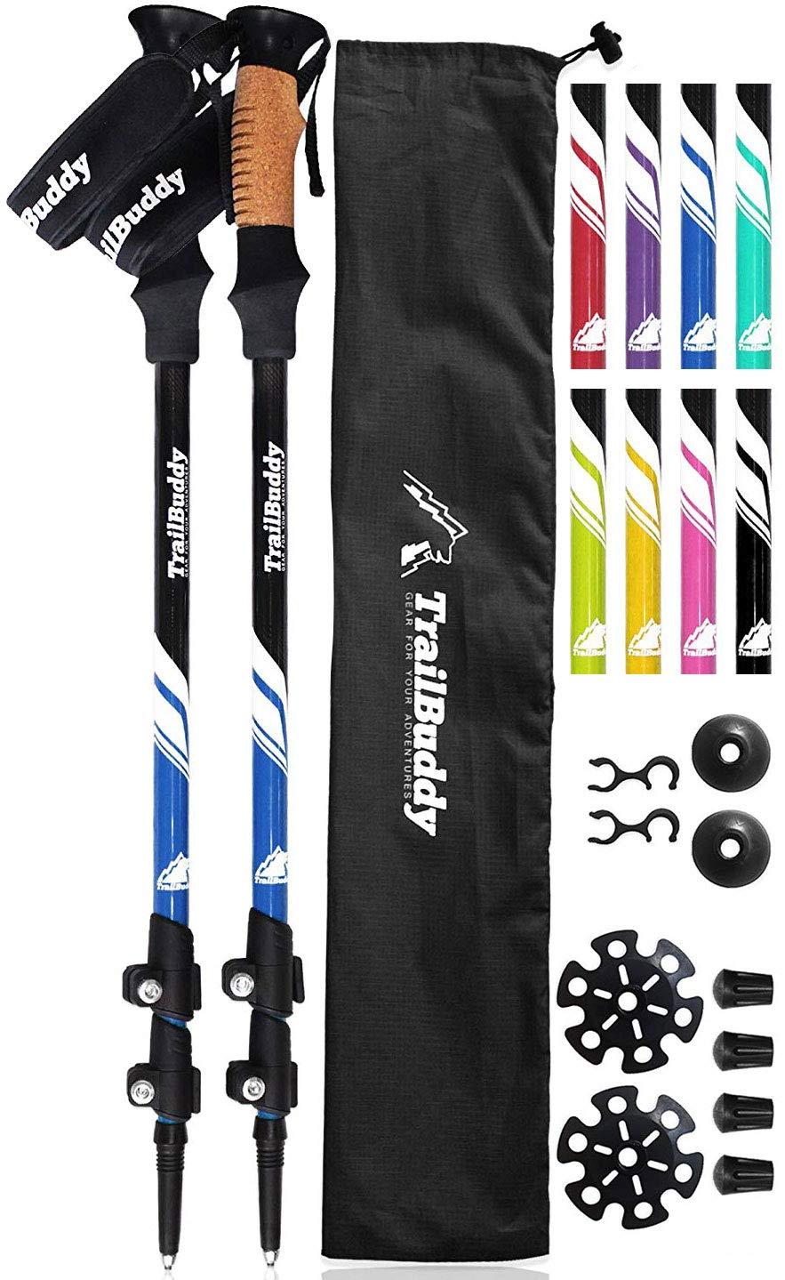 TrailBuddy Lightweight Trekking Poles - 2-pc Pack Adjustable Hiking or Walking Sticks - Strong Aircraft Aluminum - Quick Adjust Flip-Lock - Cork Grip, Padded Strap (Lake Blue) by TrailBuddy