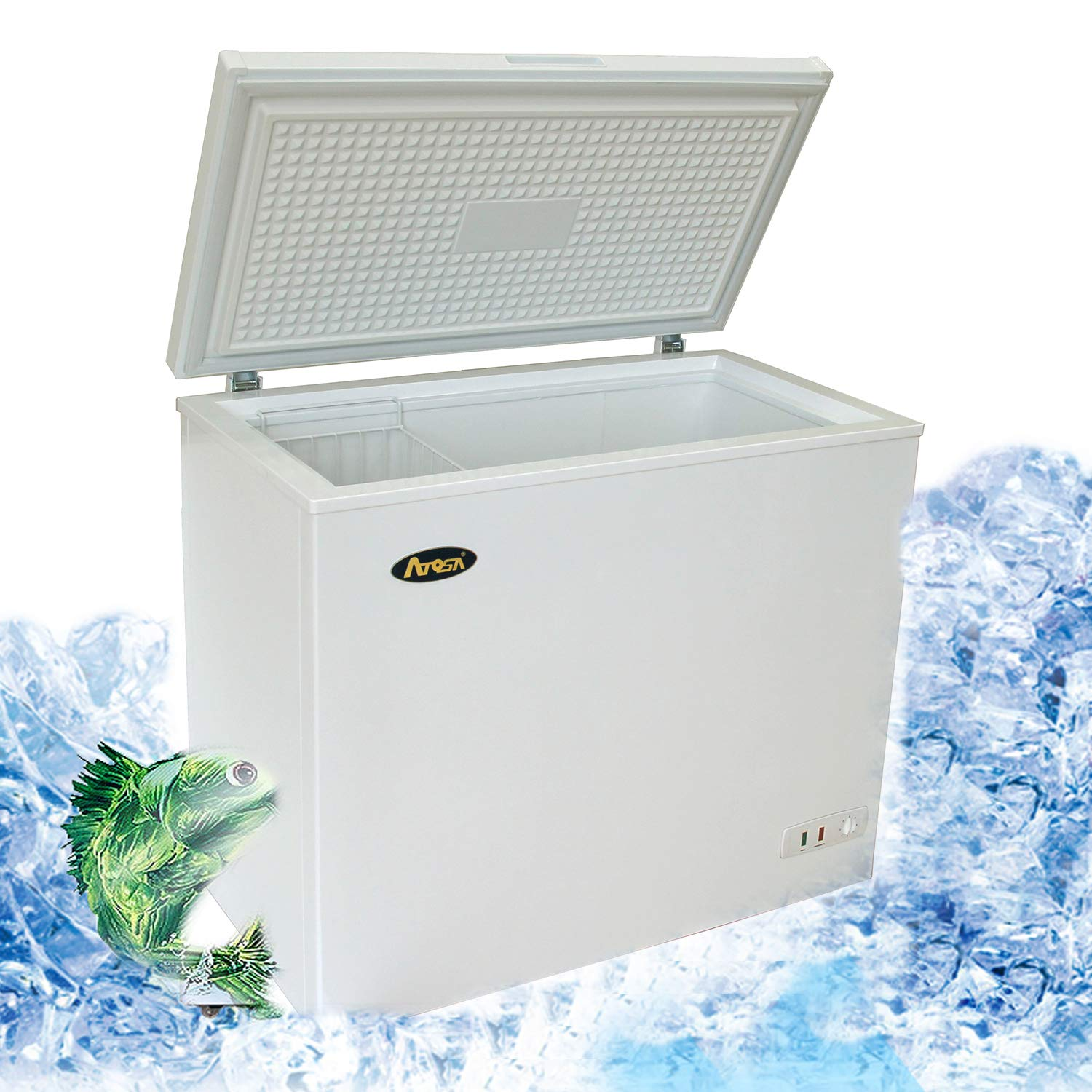 Commercial Top Chest Freezer - Atosa 7 Cu. Ft Deep Ice Cream Freezer with Adjustable Thermostat, Rollers, Solid Door,White(MWF-9007) Yindu kitchen equipment