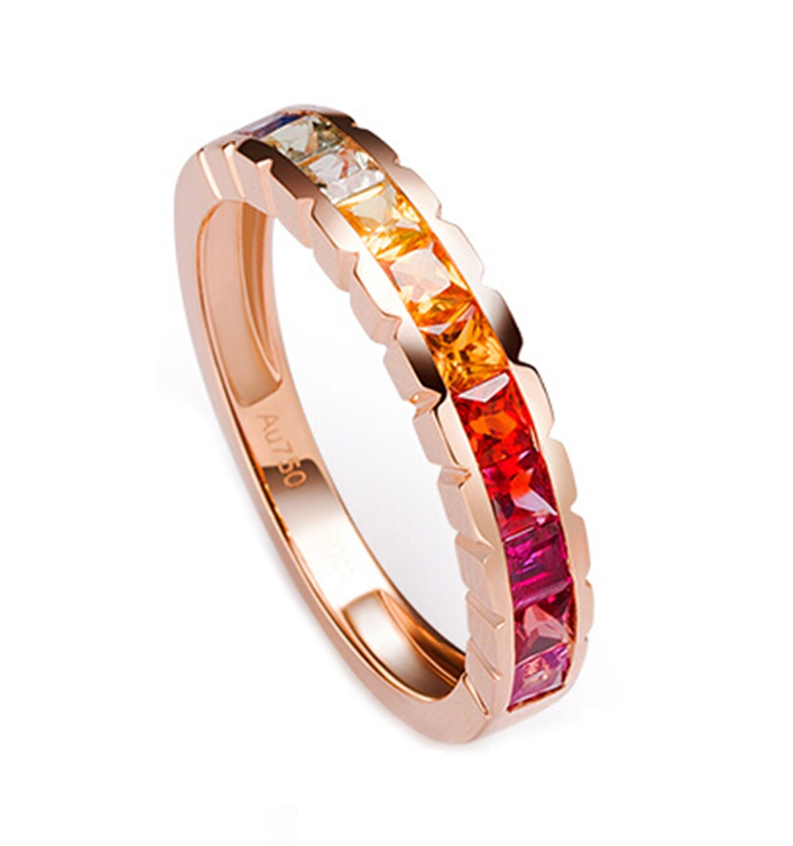 18K Gold Ring,1.2Ct Square Cut Certified Diamond Colorful Sapphire Ruby Promise Ring for Women Size 8