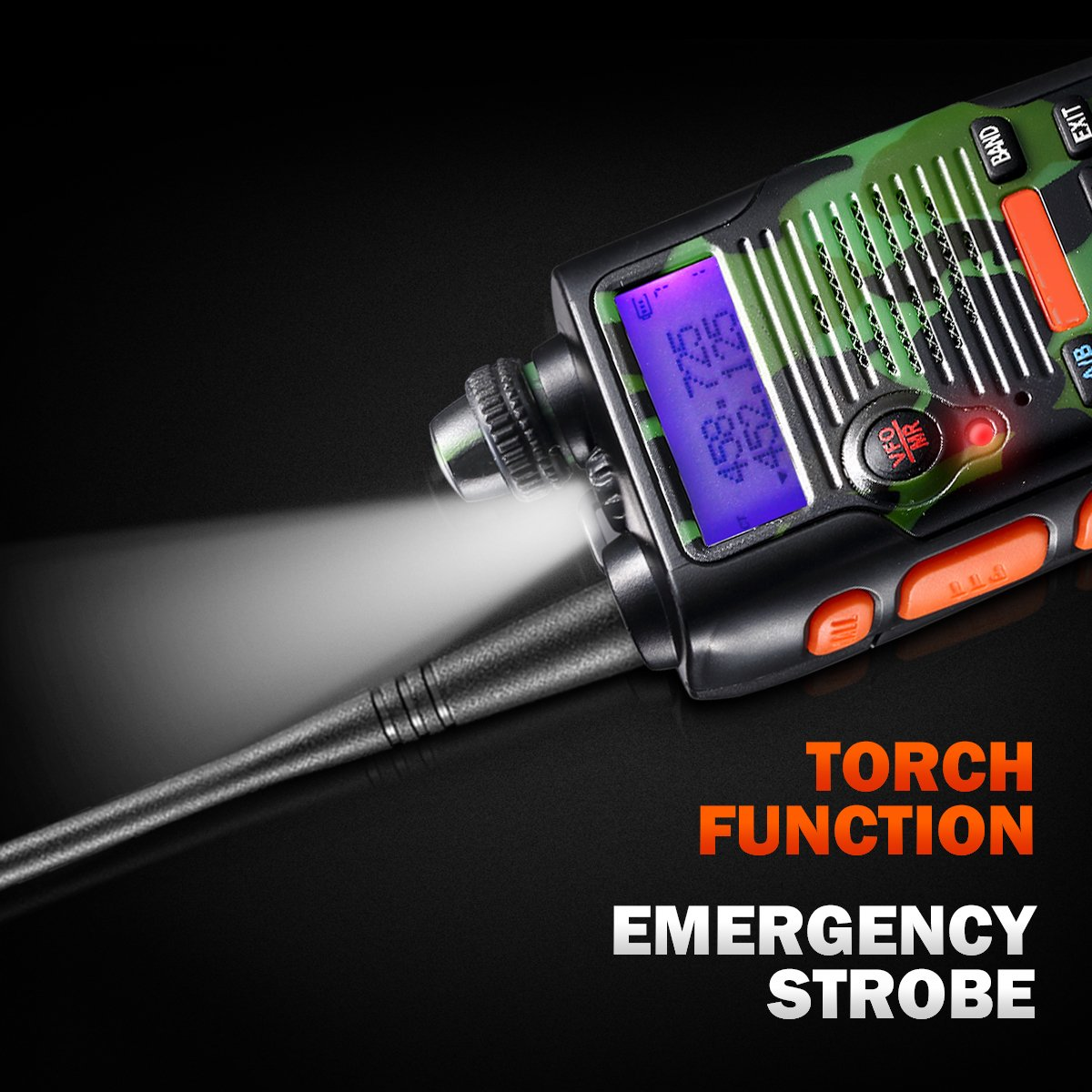Upgraded 2800mAh 8 Watt 2800mAh Two Way Radio Rechargeable Large Battery FCC Dual Band VHF 136-174MHz and UHF 400-520MHz Long Range Water Resistant 128 Channels Walkie Talkie with Earpiece Full Kit