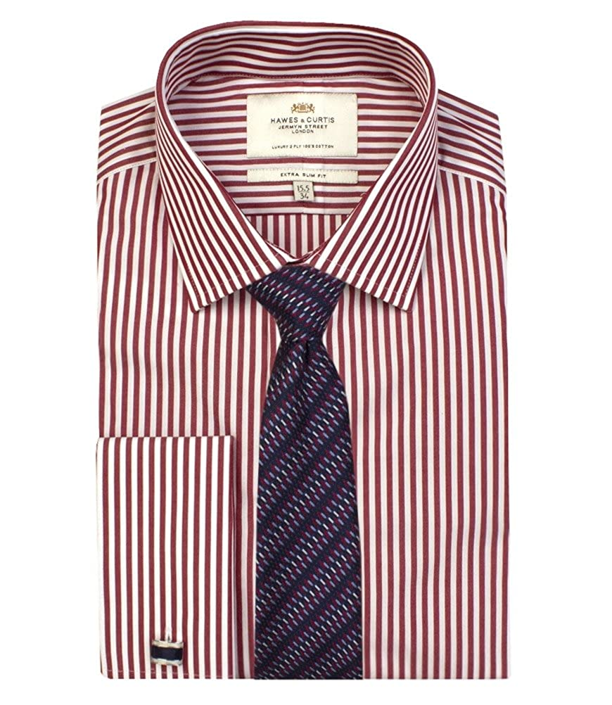 dde7a22f1b HAWES   CURTIS Mens Red White Bengal Stripe Extra Slim Fit Shirt - Double  Cuff Long Sleeve Shirt