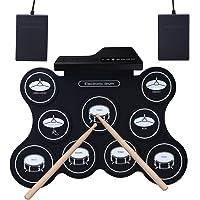 Tambor electrónico ROLL-UP, YOSASO Pad de entrenamiento eléctrico portátil con 9 almohadillas, tambor portátil plegable con 2 pedales y 2 palos de tambor para niños y principiantes
